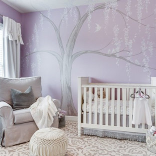 This is an example of a classic nursery for girls in DC Metro with purple walls.