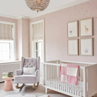 Transitional girl carpeted and gray floor nursery photo in Chicago with pink walls