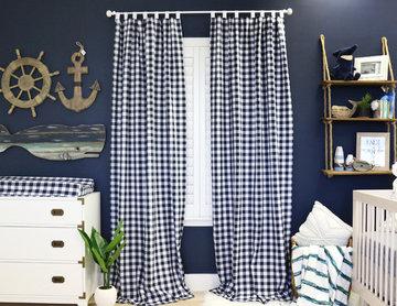 Luke's Navy Nautical Nursery with Navy Gingham Curtains