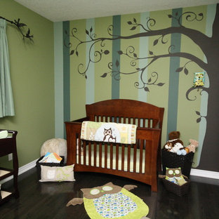 Design ideas for a medium sized classic gender neutral nursery in Toronto with multi-coloured walls and dark hardwood flooring.