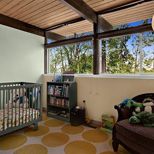 Cette image montre une chambre de bébé neutre vintage avec un mur vert.