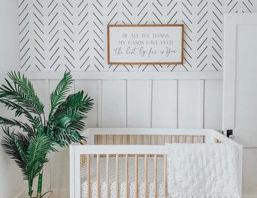Mid-century modern baby boy nursery interior