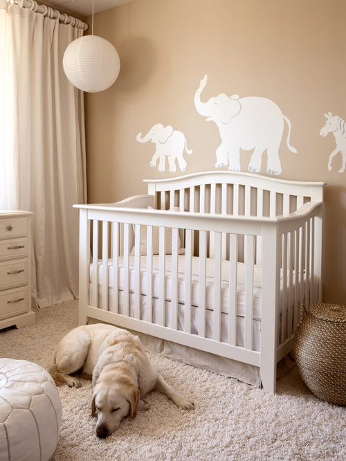 inspiration for a carpeted nursery remodel in san francisco with beige walls
