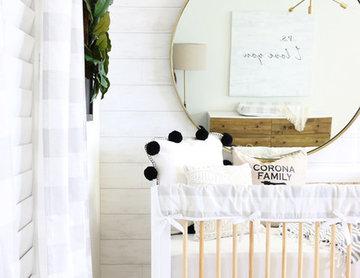 Modern Farmhouse Nursery in Gray & White