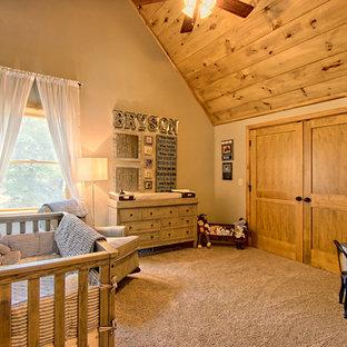 Cette photo montre une chambre de bébé montagne.