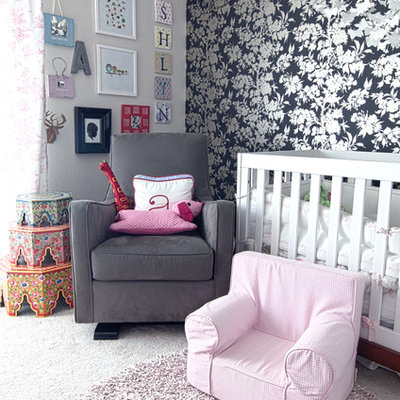 Nursery - transitional girl carpeted nursery idea in San Francisco with gray walls