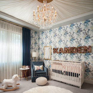 Photo of a medium sized classic nursery for girls in Phoenix with white walls, carpet and grey floors.