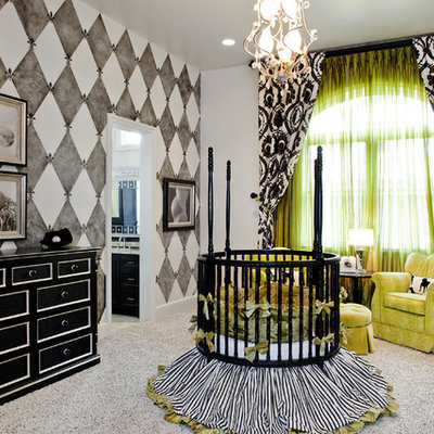 Example of a classic gender-neutral carpeted nursery design in Austin with multicolored walls