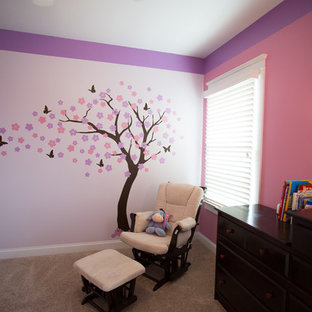 Nursery/ Little Girl's Room - Pink/Purple w/ Tree Decal
