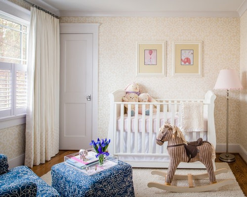 Example Of A Mid Sized Clic Gender Neutral Medium Tone Wood Floor Nursery Design