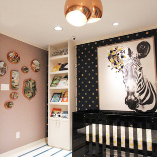 Design ideas for a medium sized romantic nursery for girls in Austin with pink walls, carpet and multi-coloured floors.