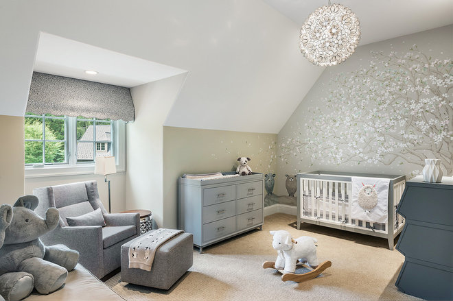 Transitional Nursery by Viola Interior Design, LLC
