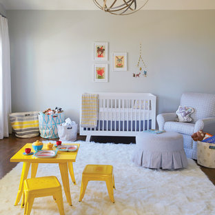 Inspiration for a contemporary gender-neutral nursery in Birmingham with grey walls and white floor.