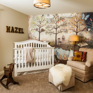 Country girl carpeted and beige floor nursery photo in Minneapolis with beige walls