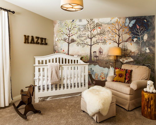 country girl carpeted and beige floor nursery photo in minneapolis with beige walls - Nursery Design Ideas