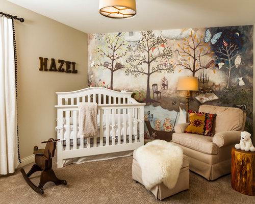 country girl carpeted and beige floor nursery photo in minneapolis with beige walls - Nursery Design Ideas