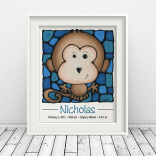 Personalized Monkey Print with Birth Details