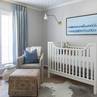 Inspiration for a medium sized traditional gender neutral nursery in Houston with grey walls, dark hardwood flooring and brown floors.
