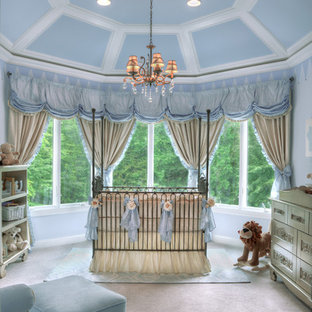 Inspiration for a large traditional gender neutral nursery in New York with blue walls, carpet and white floors.
