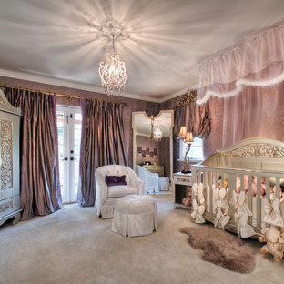Medium sized classic nursery for girls in Atlanta with purple walls and carpet.