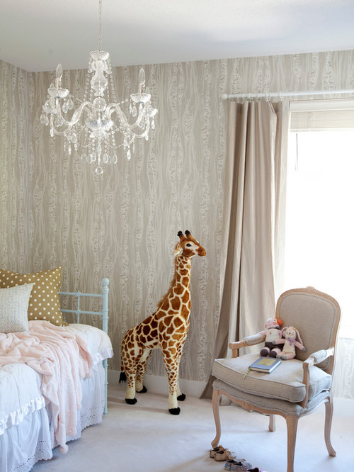 Inspiration For An Eclectic Girl Carpeted Nursery Remodel In Vancouver With  Beige Walls