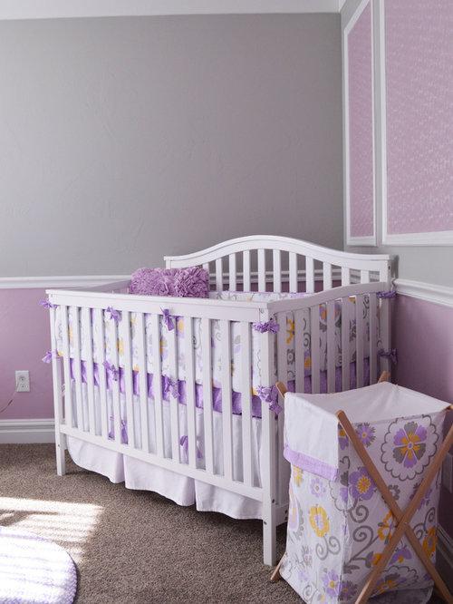 Chambre de b b classique avec un mur violet photos for Moquette chambre fille