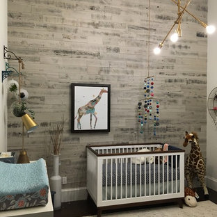 Inspiration for a medium sized eclectic nursery for boys in Miami with white walls and dark hardwood flooring.