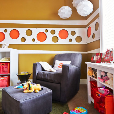 Nursery - mid-sized contemporary gender-neutral carpeted and beige floor nursery idea in Orange County with white walls