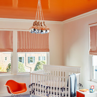 Design ideas for a medium sized traditional gender neutral nursery in San Francisco with blue floors.