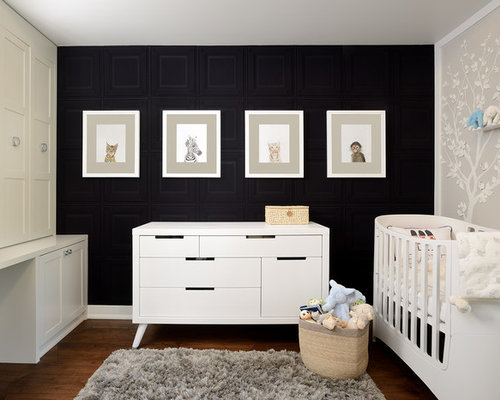 chambre de b b neutre avec un mur noir photos am nagement et id es d co de chambres de b b. Black Bedroom Furniture Sets. Home Design Ideas