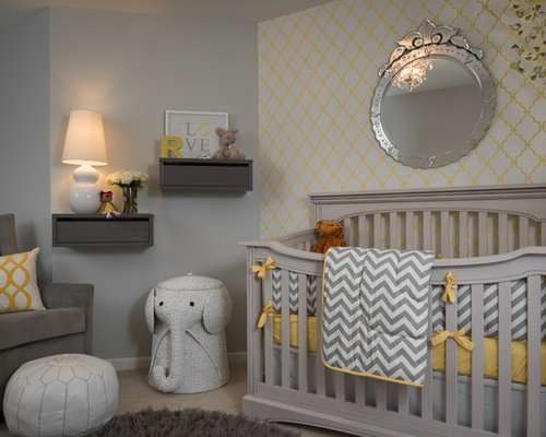 Best Transitional Nursery with Gray Walls Design Ideas & Remodel ...