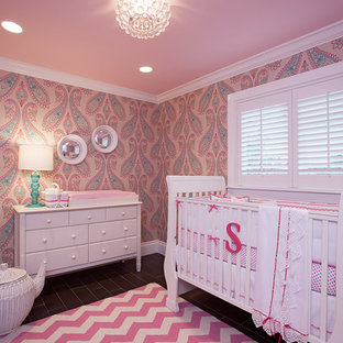 Elegant girl nursery photo in Miami with pink walls