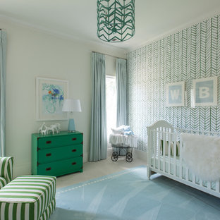 Inspiration for a classic nursery for boys in Dallas with beige walls and carpet.