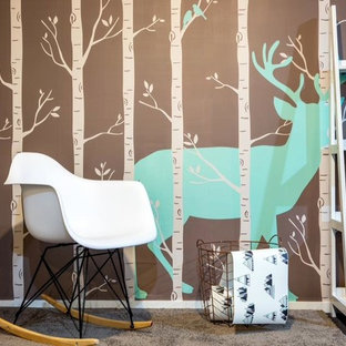 Inspiration for a contemporary gender-neutral carpeted and beige floor nursery remodel in Christchurch