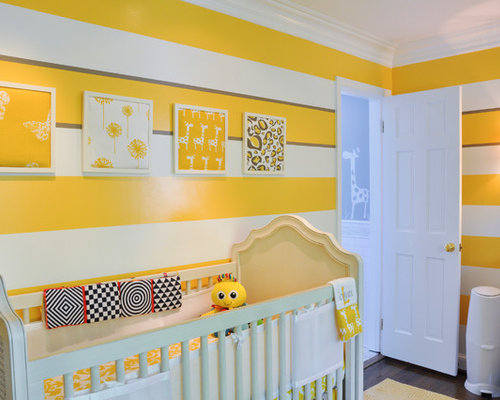 Transitional Gender Neutral Dark Wood Floor Nursery Photo In DC Metro With  Yellow Walls