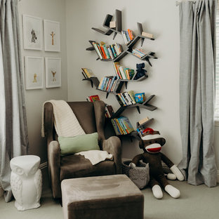 Inspiration for a medium sized traditional gender neutral nursery in Portland with beige walls, carpet and beige floors.