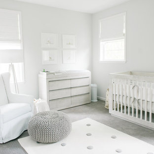 Nursery - scandinavian gender-neutral carpeted and gray floor nursery idea in Tampa with gray walls