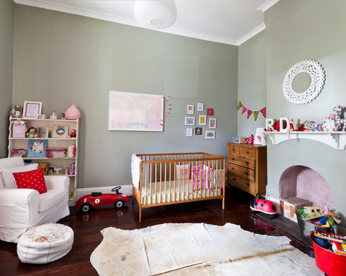 Example Of A Large Eclectic Gender Neutral Dark Wood Floor And Brown Floor  Nursery Design Part 95
