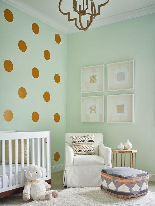 babyzimmer mit gr ner wandfarbe ideen design bilder houzz. Black Bedroom Furniture Sets. Home Design Ideas