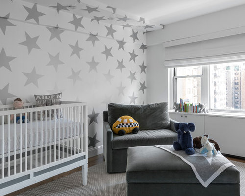 grey and white nursery home design ideas pictures remodel and decor. Black Bedroom Furniture Sets. Home Design Ideas