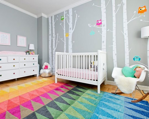 Example Of A Mid Sized Trendy Girl Multicolored Floor And Light Wood Floor  Nursery Design Part 83