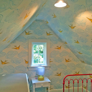 Photo of a small farmhouse gender neutral nursery in New York with white walls.