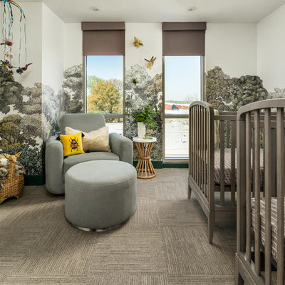 Large trendy gender-neutral carpeted and gray floor nursery photo in Atlanta with multicolored walls