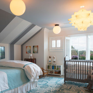 Inspiration for a medium sized classic nursery for boys in New York with white walls and dark hardwood flooring.