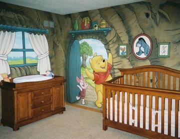 Winnie The Pooh Murals in a Nursery by Tom Taylor of Mural Art LLC