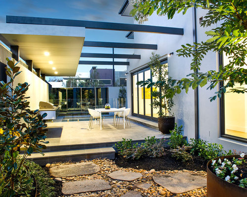 Photo Of A Mid Sized Contemporary Backyard Patio In Melbourne With Container Garden