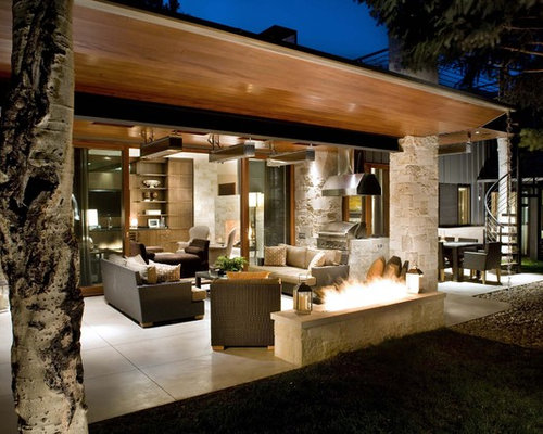 Patio   Contemporary Patio Idea In Denver With A Fire Pit And A Roof  Extension