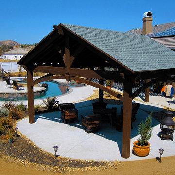 20' x 20' Timber Frame Pavilion & Bridge For Backyard