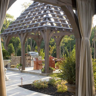 Inspiration for a timeless patio remodel in Dallas with a gazebo