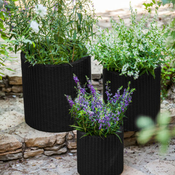3-Piece Keter Cylinder Resin Rattan Planter by Keter, Grey